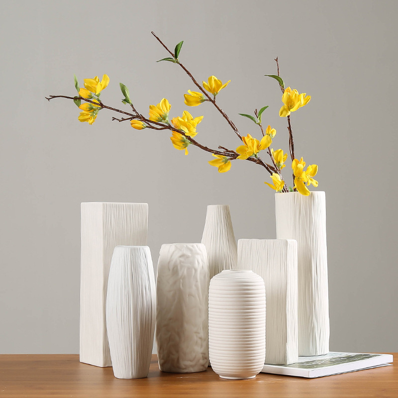 Modern Minimalist Artificial Flower Flower Ceramic Vase White Home Accessories Ceramic Crafts Ornaments Vases Ceramic Vase