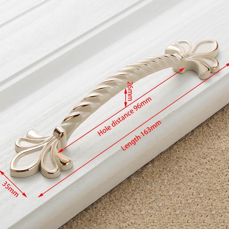 KAK цинк Aolly цвета слоновой кости ручки для шкафа кухонный шкаф дверные ручки для выдвижных ящиков Европейская мода оборудование для обработки мебели - Цвет: 2504-96