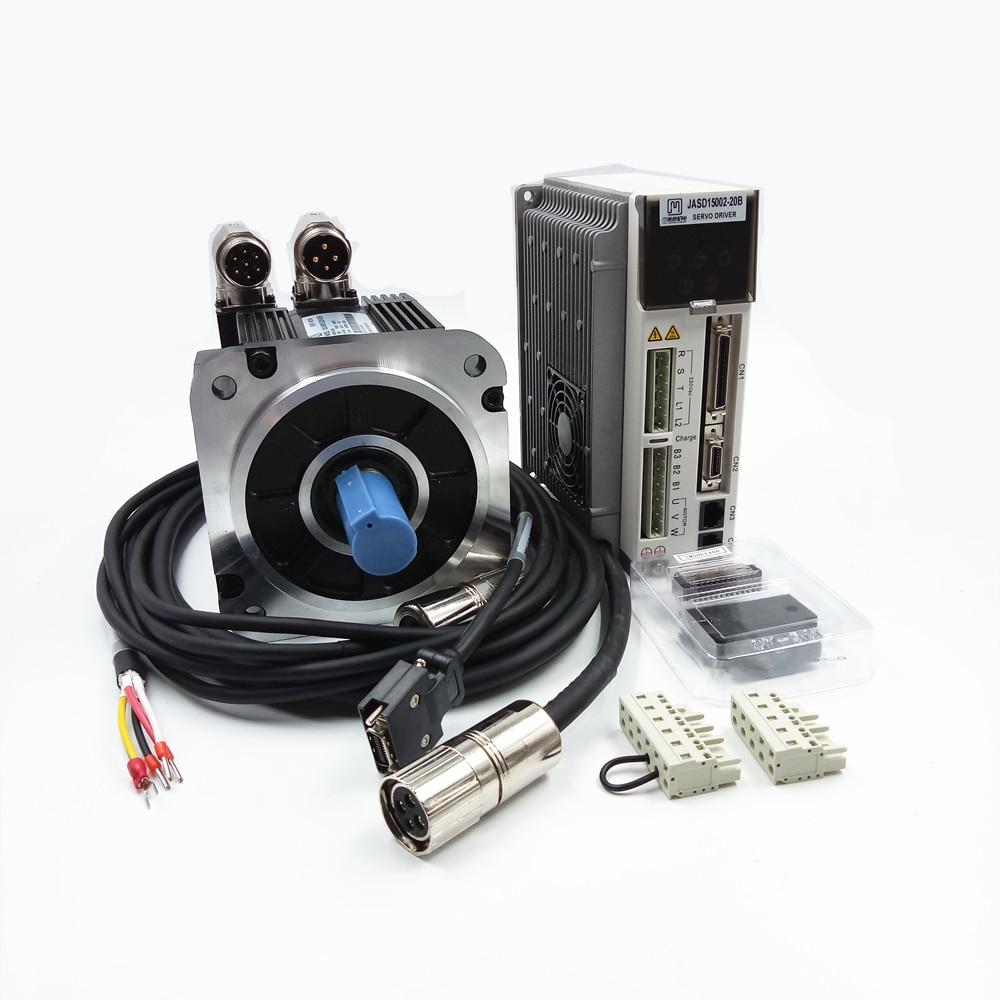 1.5Kw AC Servo Motor Kits 1500w 5NM 2000rpm NEMA52 130mm Industrial Servo Motor+Drive AC220V JASD15002-20B+130JASM515220K-23B-T