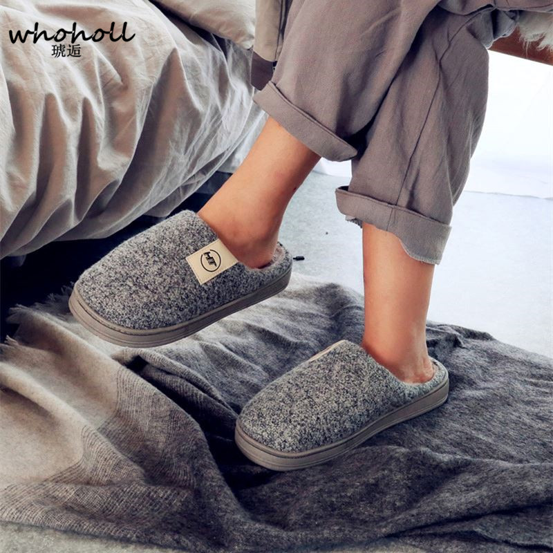 WHOHOLL Warm Colors Ladies Slippers PVC Flats Fashion Adult Outside Plush Winter Home Slippers Women Shoes Shallow Black Slipper