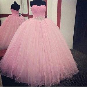 Image 1 - Rosa Ballkleid Quinceanera Kleider 2019 Perlen vestidos de 15 anos Günstige Süße 16 Kleider Debütantin Kleider Kleid Für 15 jahre