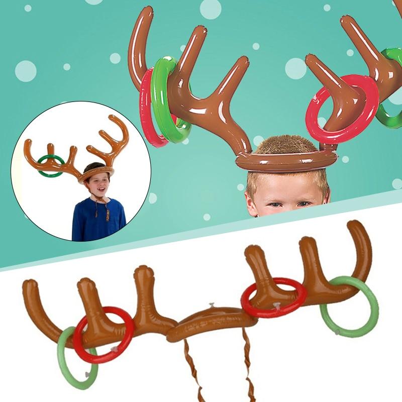1 шт. s Рождество Хэллоуин 1 шт. модная забавная шляпа оленьи рога надувная игрушка вечерние кольца Toss игра детский подарок