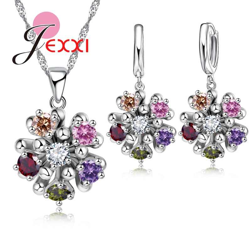 Jewelry Sets Silver 925  Colorful Cubic Zircon Pendants Necklaces Earring Set For Women Wedding Anniversary