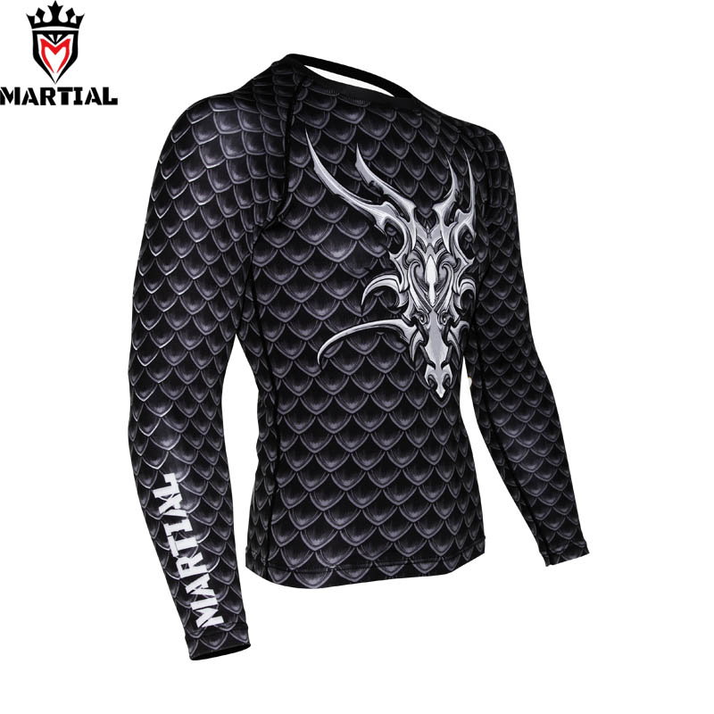 Martial: Guardian Of Dragon Rashguards Boxing  Rashguard Gym Crossfit Compression Shirt Thai Jerseys
