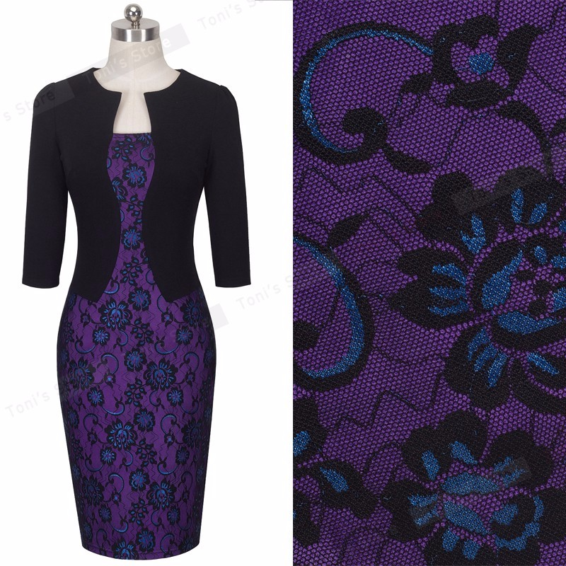 Nice-forever One-piece Faux Jacket Brief Elegant Patterns Work dress Office Bodycon Female 3/4 Or Full Sleeve Sheath Dress b237 19
