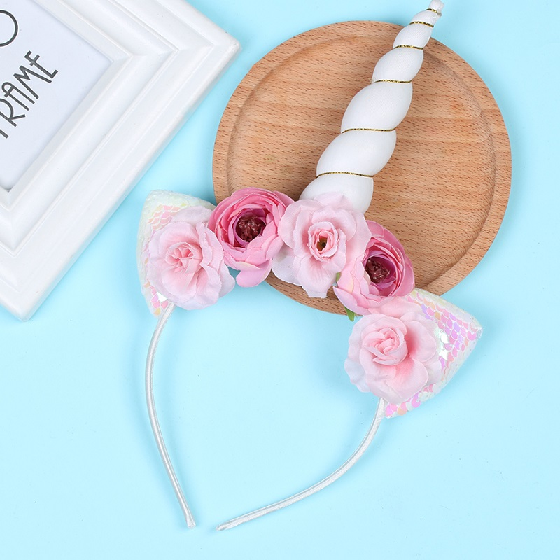 Styling Tools 2019 Fashion 1pc Headband Glitter Unicorn Horn With Chiffon Flowers Hair Hoop Party Hair Styling Tool Braiders For Kids 6 Colors Choice Materials Braiders