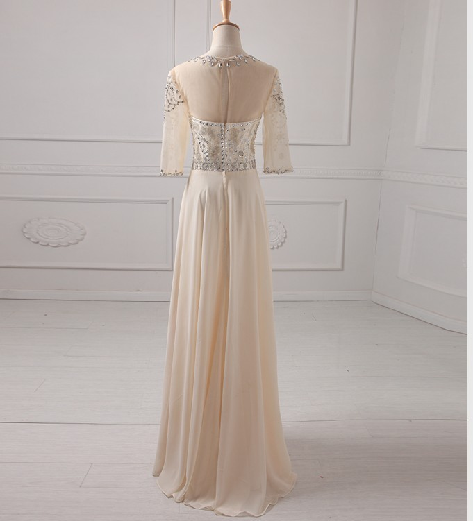 2017 New Arrival Beige Long Chiffon Beading Crystal Prom Dresses Party Formal Gown 3/4 Sleeves Bridesmaid Dresses 2