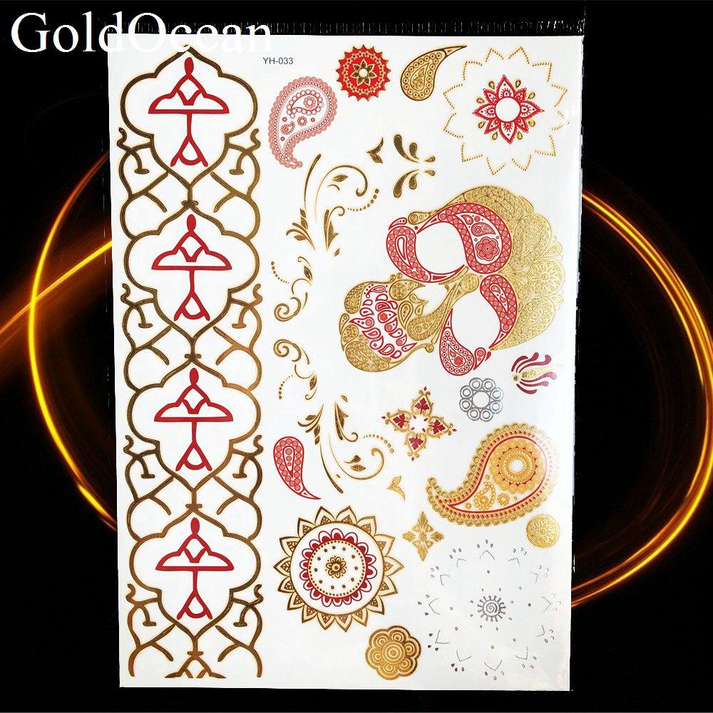 Geometric Bracelet Gold Metallic Temporary Tattoo Body Arm Art Fake Jewelry Waterproof Tattoo Girl Wrist Chain Flash Tatoo Women