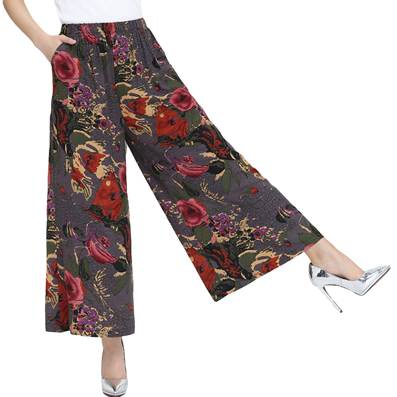 2017 New Summer Women Print   Wide     Leg     Pants   Casual Loose Square Dance Trousers High Elastic Waist   Pants   YP0101