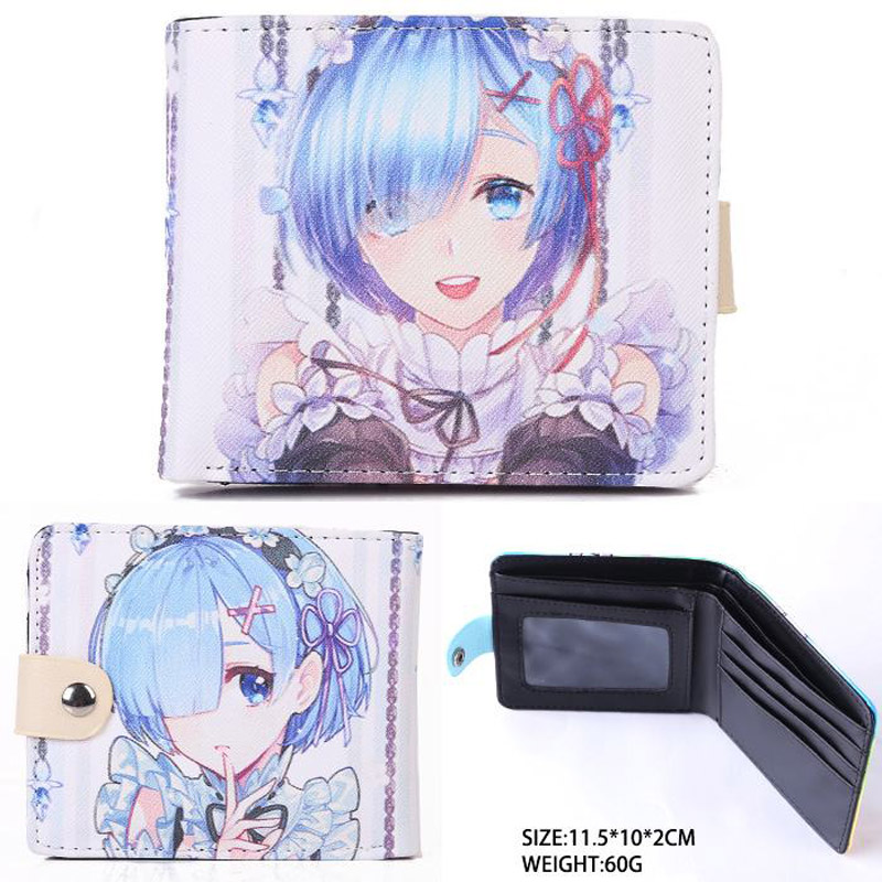 Anime Re:Zero kara Hajimeru Isekai Seikatsu Synthetic Leather Short Exquisite Wallet/Rem Button Purse (SYNW_1) anime re zero kara hajimeru isekai seikatsu rem white pu short zero wallet coin purse with interior zipper pocket