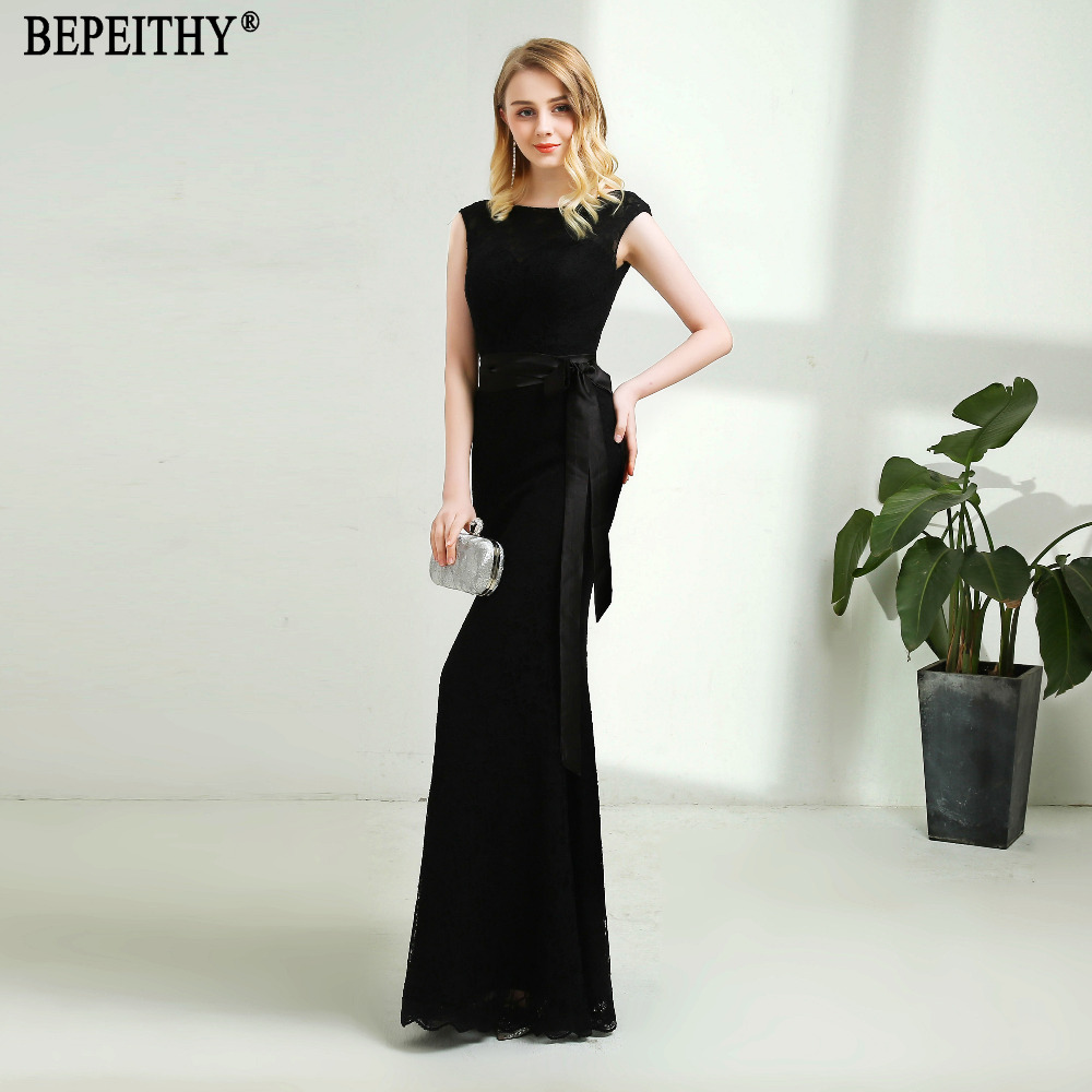 BEPEITHY Hot Sale Black Lace Long Bridesmaid Dresses Vestido De Festa Longo Belt Cheap Dress For Wedding Party Elegant 2018