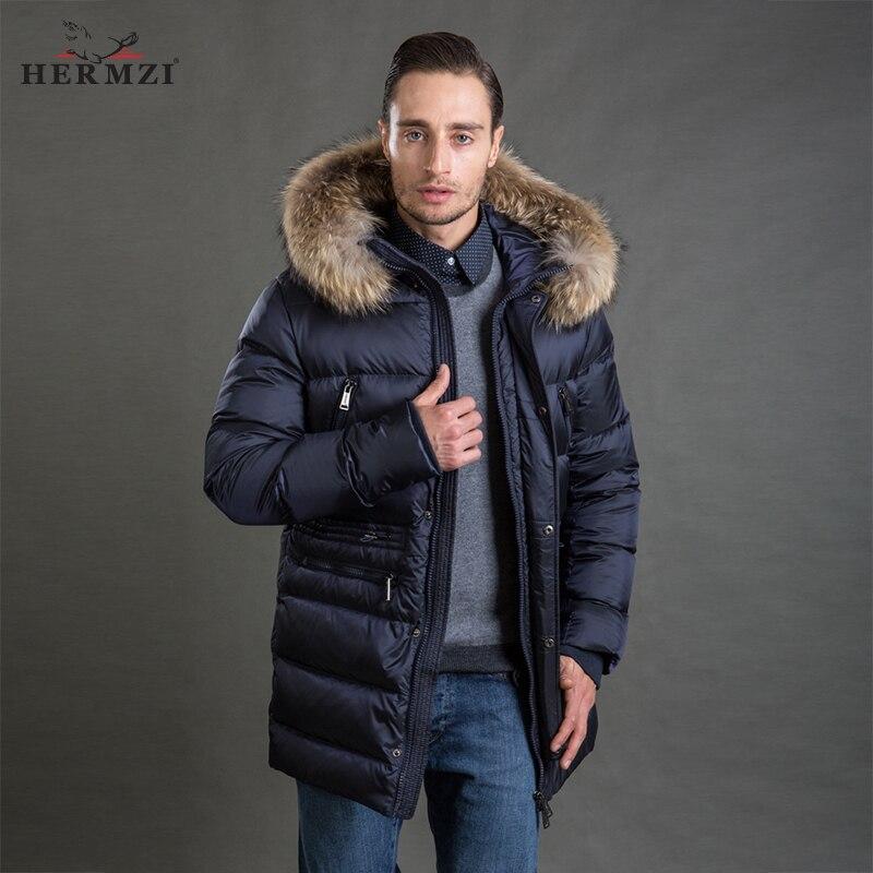 HERMZI 2018 Hommes D'hiver Veste De Mode Manteau Parka Épaississent capuche amovible Raton Laveur col de fourrure Taille Européenne Bleu 4XL Livraison Gratuite