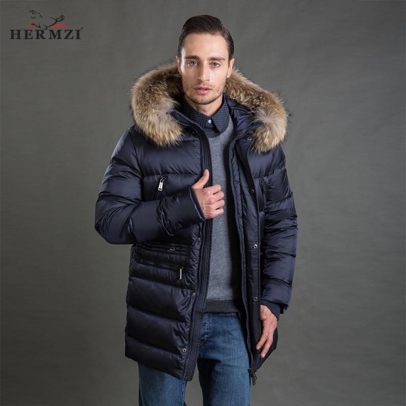 HERMZI 2018 Men Winter Jacket Fashion Coat   Parka   Thicken Detachable Hood Raccoon Fur Collar European Size Blue 4XL Free Shipping