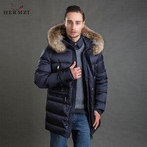 Image 1 - Hermzi 2020 男性の冬のジャケットコートパーカー厚みの取り外し可能な毛皮の襟ヨーロッパサイズブルー 4XL 送料無料