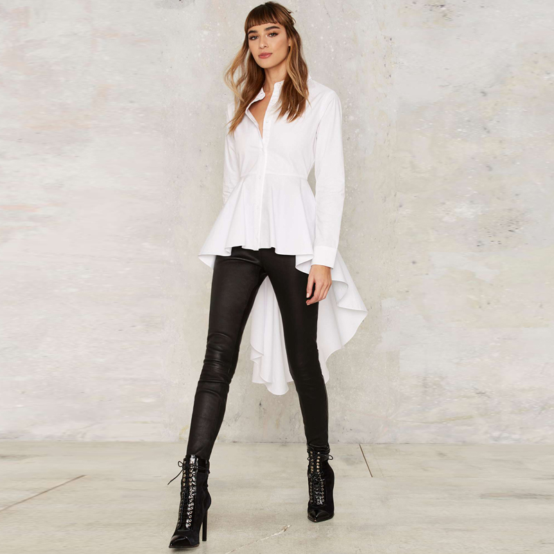 d451e8bea53fef Long sleeve white peplum shirts with ruffle hem women button down high low  tops long ladies vintage fishtail blouses for work-in Blouses & Shirts from  ...