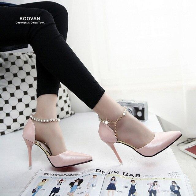 Koovan Women Pumps 2017 Spring Pointed High-heeled Pink Pearls Wild Night Clubs Buckle Shoes Women's Sandals Ladies Summer