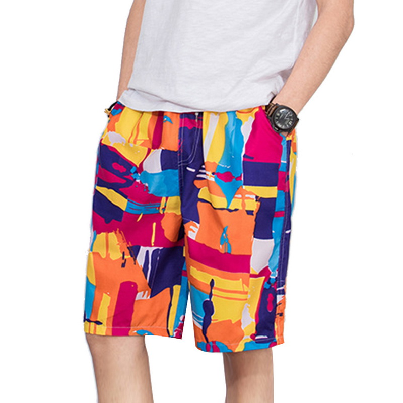 SHUJIN Men Summer Beachwear Quick Dry Print Sportwear Male Causal Shorts Plus Size