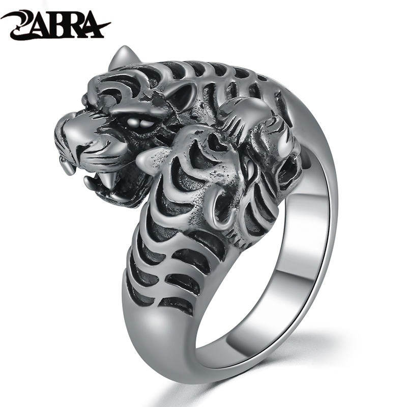 ZABRA 100% Real 925 Sterling Silver Big Opening Men Ring Vintage Black Two Tigers Head Punk Rock Gothic Style Silver Men Jewelry блузки oks by oksana demchenko блузка