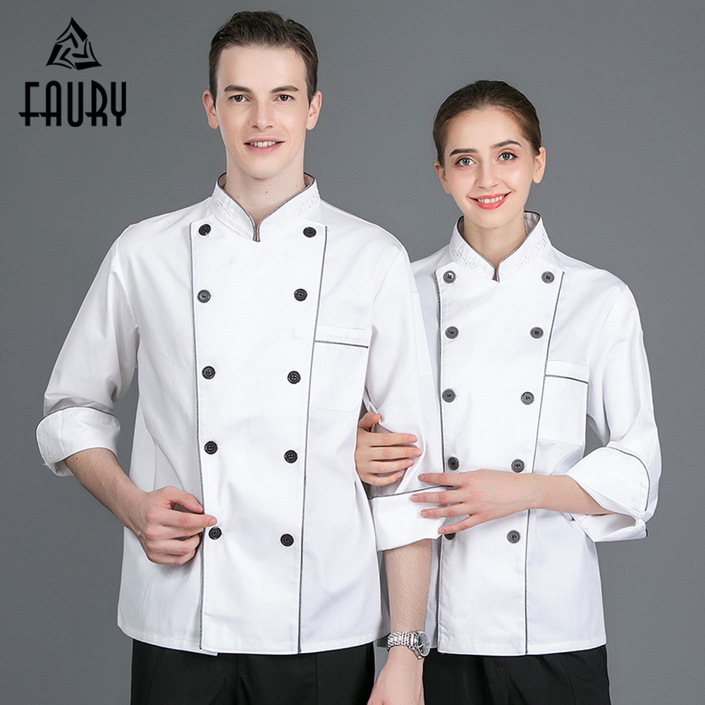 High Quality White Top Chef Work Jackets Food Service Cafe Bakery Hotel Waiter Restaurant Kitchen Uniforms Long Sleeve Overalls