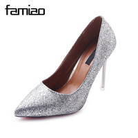 FAMIAO Women Wedding Shoes Silver Gold Dress Shoes Pointed Toe Woman Sequined Cloth High Heels Shoes
