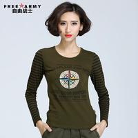 2016 New Arrivals Women Long Sleeve T Shirt Sport Casual Printing Cotton Army Green Brand Tee