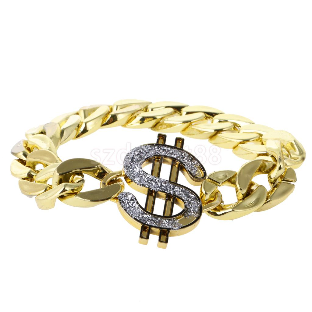 Gold US Dollar Sign Bracelet Costume Gangster Pimp Hip-hop Rapper Fancy Dress