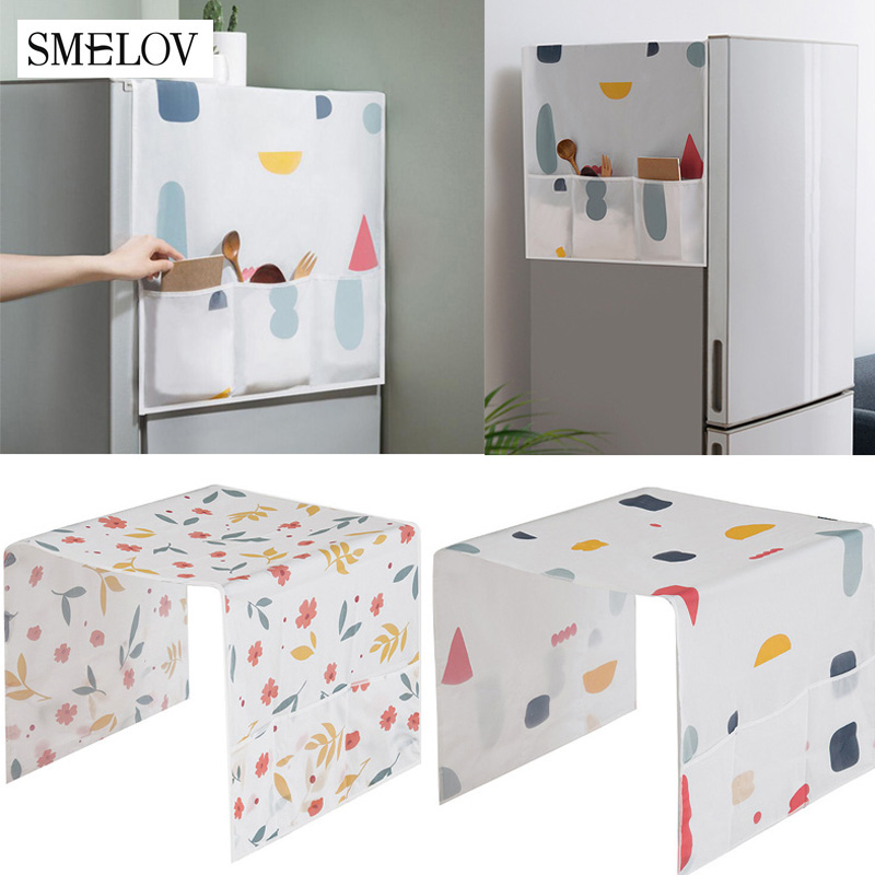 Geometric Refrigerator Dust Cover Waterproof PEVA Printing Washing Machine Cover Towel With Storage Bag Fridge Anti-dust Cover