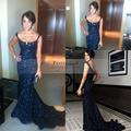 Vestido De Festa Elegant Navy Blue Sequined Mermaid Prom Dresses 2016 Sexy Backless Long Evening Gowns Fashionable Formal Dress