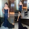 Vestido De Festa Elegante Azul Marino Con Lentejuelas Sirena Vestidos de Baile 2016 Backless Atractivo Largo Vestidos de Noche Vestido Formal de Moda