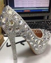 9/11cm Luxurious wedding shoes bride waterproof single crystal high-heeled diamond nightclub performances women's pumps Eur33-40