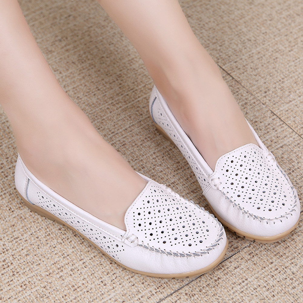 New Spring women flats shoes women leather shoes woman cutout loafers slip on ballet flats ballerines flats