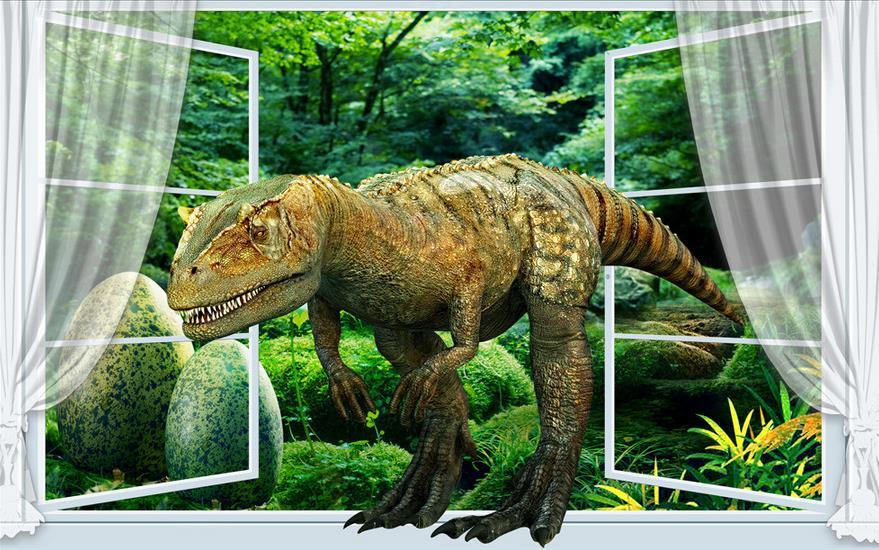 Customize living walls wallpapers lifelike dinosaurs wall paper 3d mural 3d wallpaper photo - Paperboy dinosaur wallpaper ...