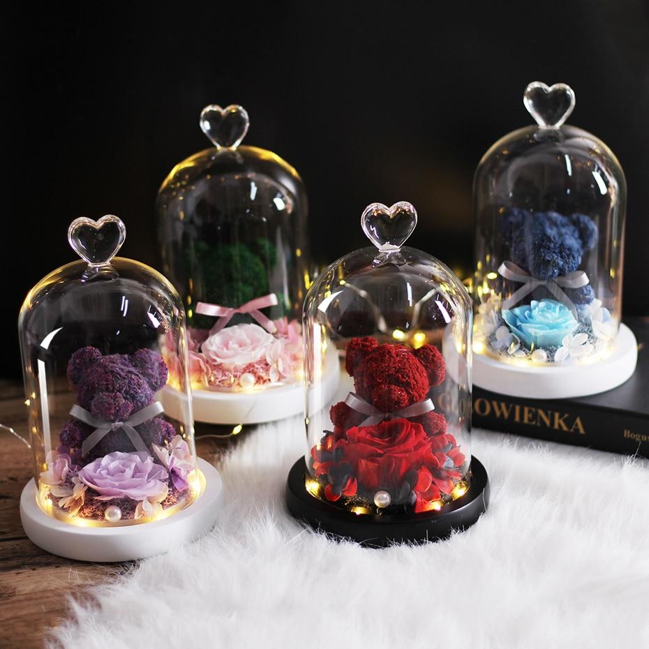 Ursinho ewige erhalten rosa guardião urso imortal flora led licht rosa em vidro presente de natal presentes do dia dos namorados