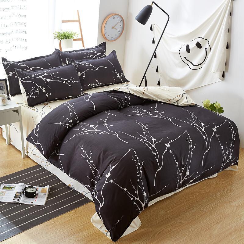 Home textile bedding set black tree duvet cover queen bed sheet bedspread bed linen housse de - Housse de couette all black ...