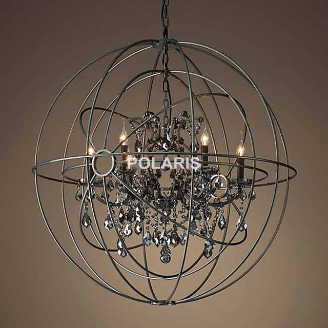 Free Shipping Vintage Orb Crystal Chandelier Lighting Rh Black Candle Chandeliers Pendant Hanging Light For Home