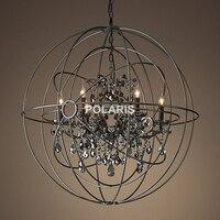 Gratis Verzending Vintage Orb Kristallen Kroonluchter Verlichting RH Zwarte Kaars Kroonluchters Hanger Opknoping Licht voor Home Hotel Decor
