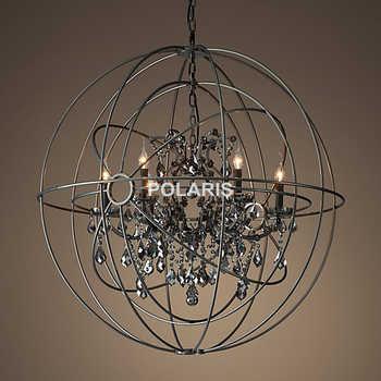 Vintage Smoke Crystal Chandelier Lighting Orb Black Candle Chandeliers Pendant Hanging Light - Category 🛒 Lights & Lighting