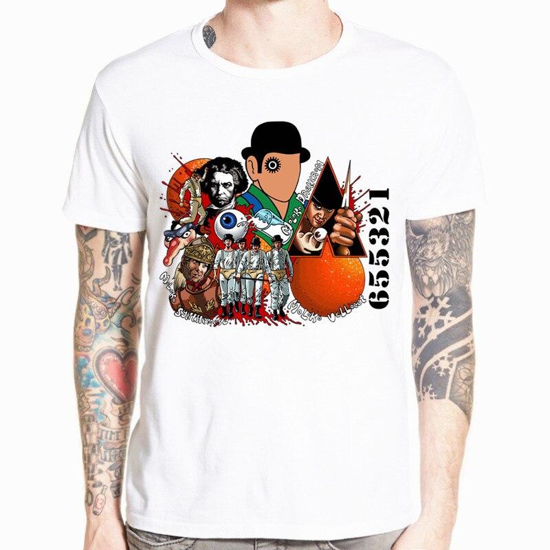 גברים הדפס חולצת טריקו כתומה של סטנלי קובריק O שרוול קצר אלכס אלכס מלקולם חולצת טריקו HCP701