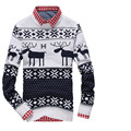 Новый длинным рукавом 2015 весной корейской мужские свитера пуловеры человек о-образным вырезом рождество оленей дизайнер мужчины sueter MWS001