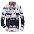 Novo 2015 primavera de manga comprida blusas homens pulôveres homem o-pescoço designer de veados natal homens suéter pullover MWS001