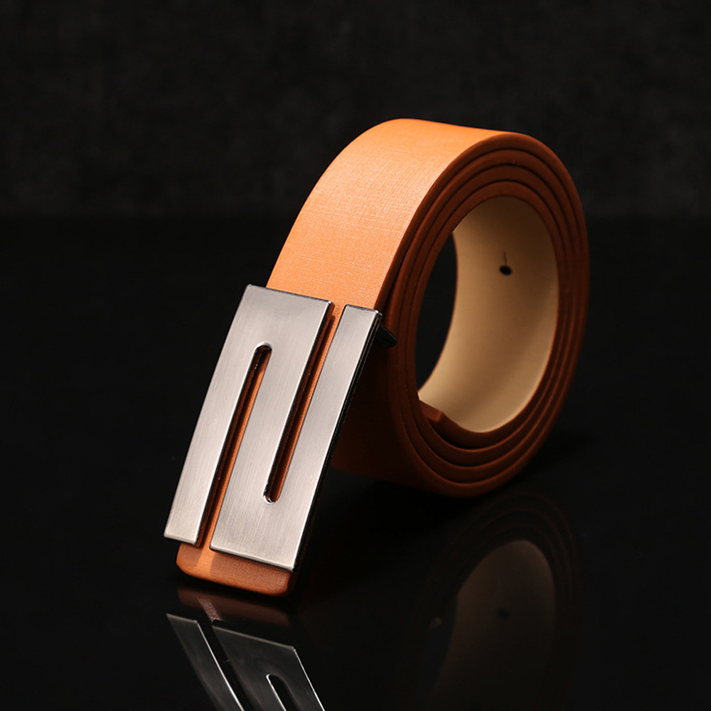 Men's And Women's Belts Automatic Buckle Leather Belt Buckle Automatic Buckle Smooth Buckle Belt Cinturones Para Mujer