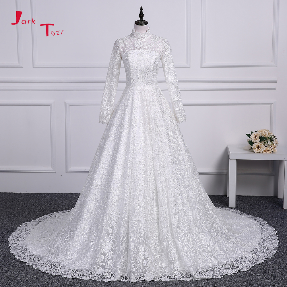 Jark Tozr 100% Real Picture High Neck Long Sleeve Bridal Gowns Vestido De Noiva Renda A-line Lace Wedding Dresses Alibaba China