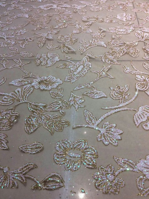 Fashion African Lace Fabric MYHL1369 Nigeria Embroidery Sparkling Sequins Beautiful Flower Type Luxury Wedding Dress