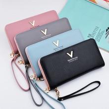 Купить с кэшбэком Best Women Wallets 2018 PU Long Saffiano Wallets Travel Continental Wristlet bag Skinny Wallet In Refined Leather Large capacity