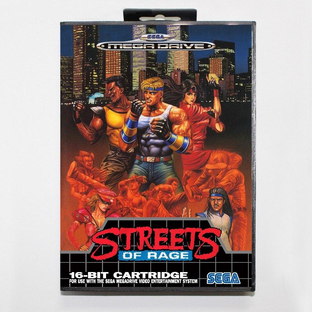 Игровая карта улиц ярости 16 бит SEGA MD с розничной коробкой для Sega Mega Drive для Genesis