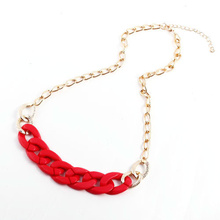 cheap Fashion Gold Personalized CCB Pink Chain Necklace Women Fashion Jewelry Necklaces & Pendants Free Shipping