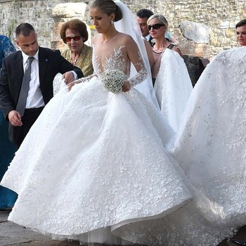 Elegant Royal Lace Wedding Gowns With Full Sleeves High End Appliques Beaded Floral Puffy Bridal Dresses Robe De Mariee