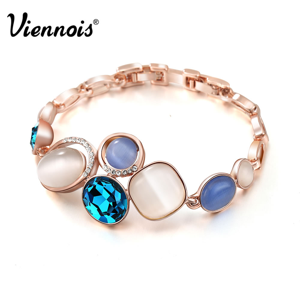 Viennois Bracelets Bangles Rhinestone Rose-Gold-Color Crystal Geometric Blue of for Woman