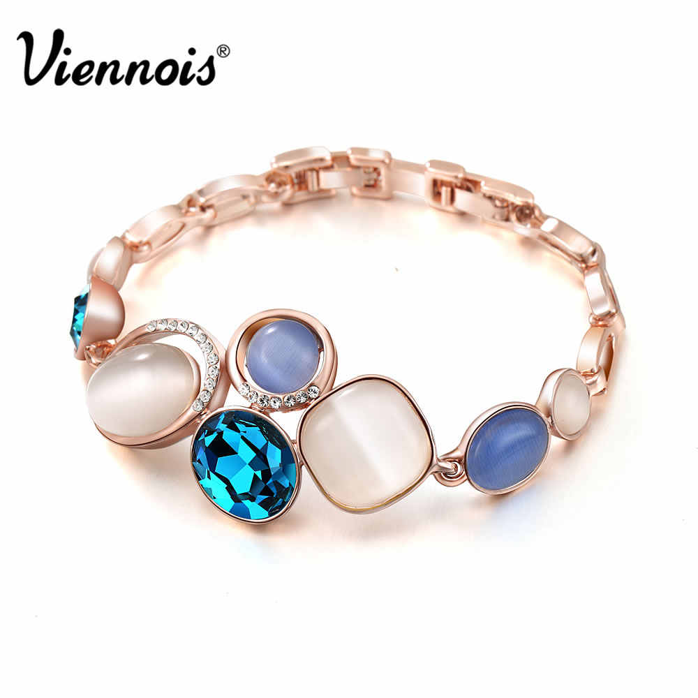 Hot Sale Viennois Rose Gold Color Blue Crystal Bracelets of Opal Stone & Rhinestone for Woman Geometric Bracelet & Bangles