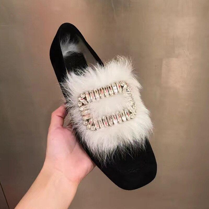 Chaude Plat Cristal Fourrure Show Mules Nouvelles Carré Douces Feminino Mujer Casual Confortable Bout Femmes Sapato Chaussures De As Dames Marée Zapatos aI1OB